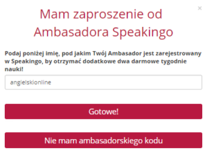 Login Ambasadora - Speakingo Angielski